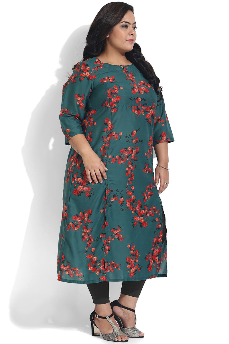Bottle Green Floral Print Side Slit  Kurti