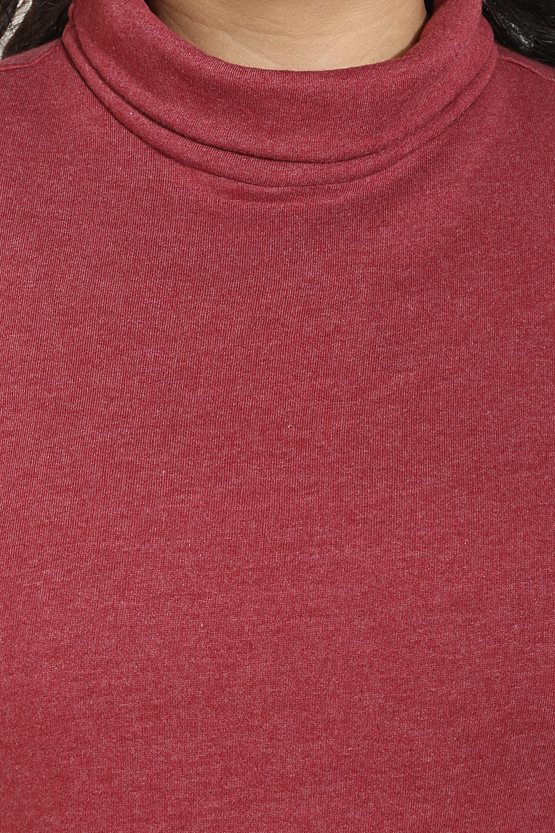 Maroon Essential High Neck Top