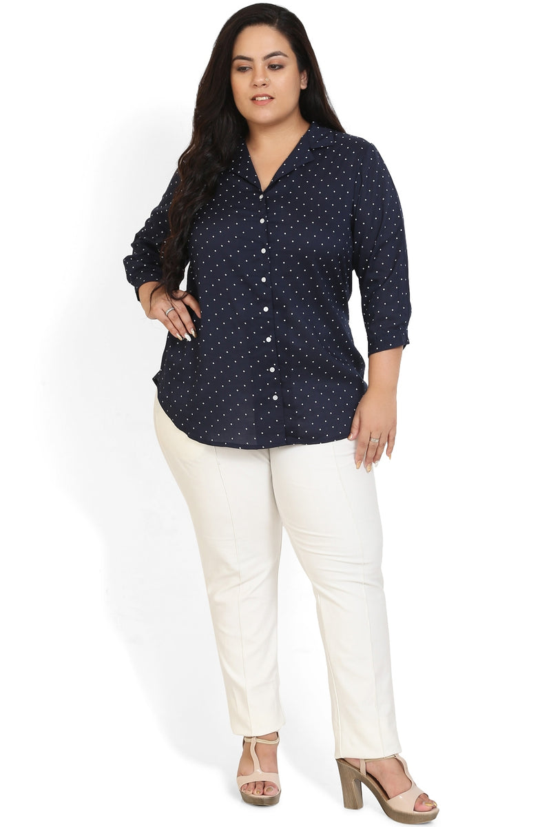 Navy Polka Print Cuban Collar Shirt