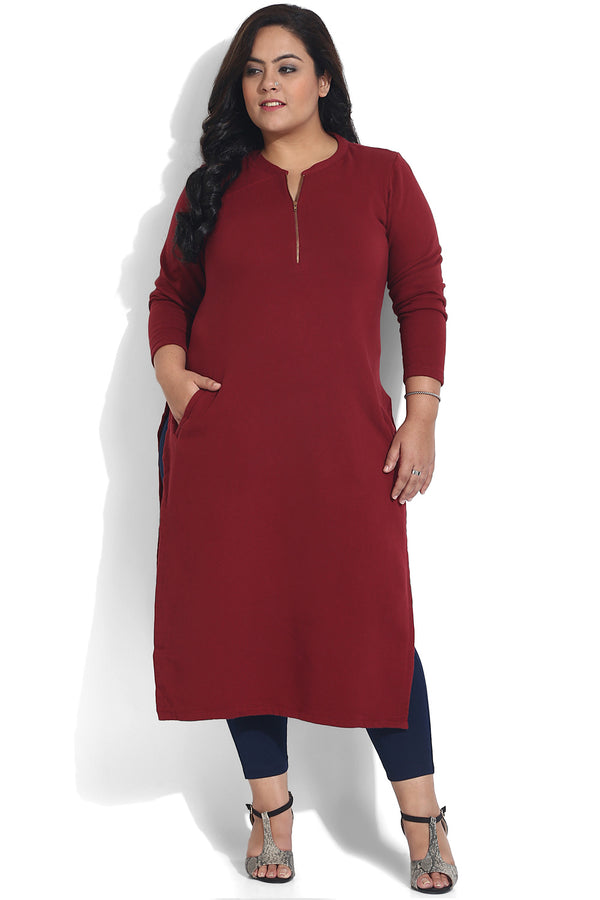 Maroon Pocket Detail Autumn Kurti