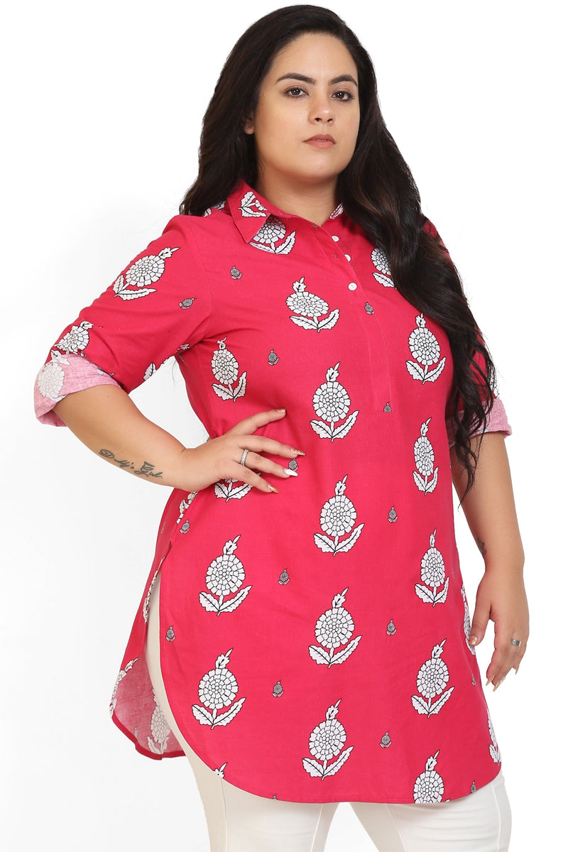 Red Floral Printed Longline Shirt