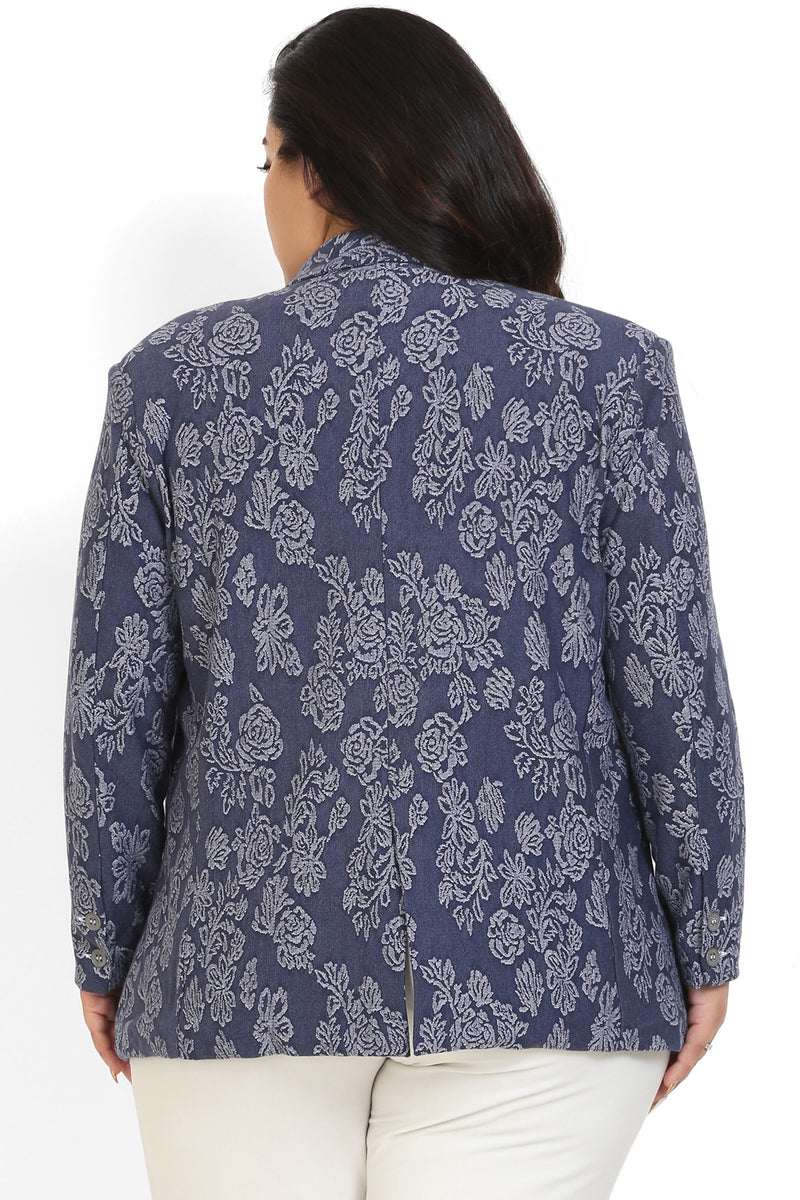Blue Jacquard Weave Formal Knitted Jacket