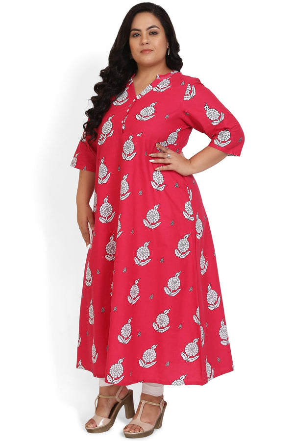 Red Floral Print Full Length Dress