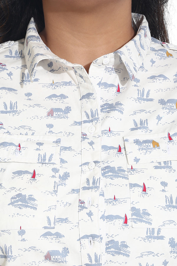 White Boat Printed Shirt