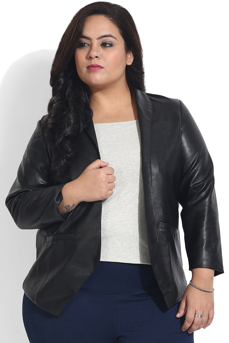 Black Leather Open Jacket