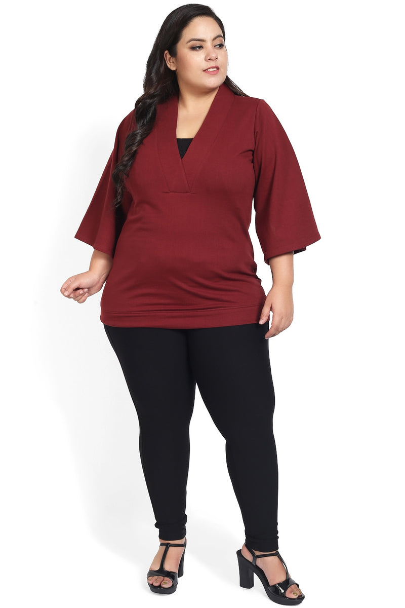 Maroon Bell Sleeves Winter Top