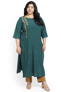 Emerald Green Leaf Embroidery Kurti