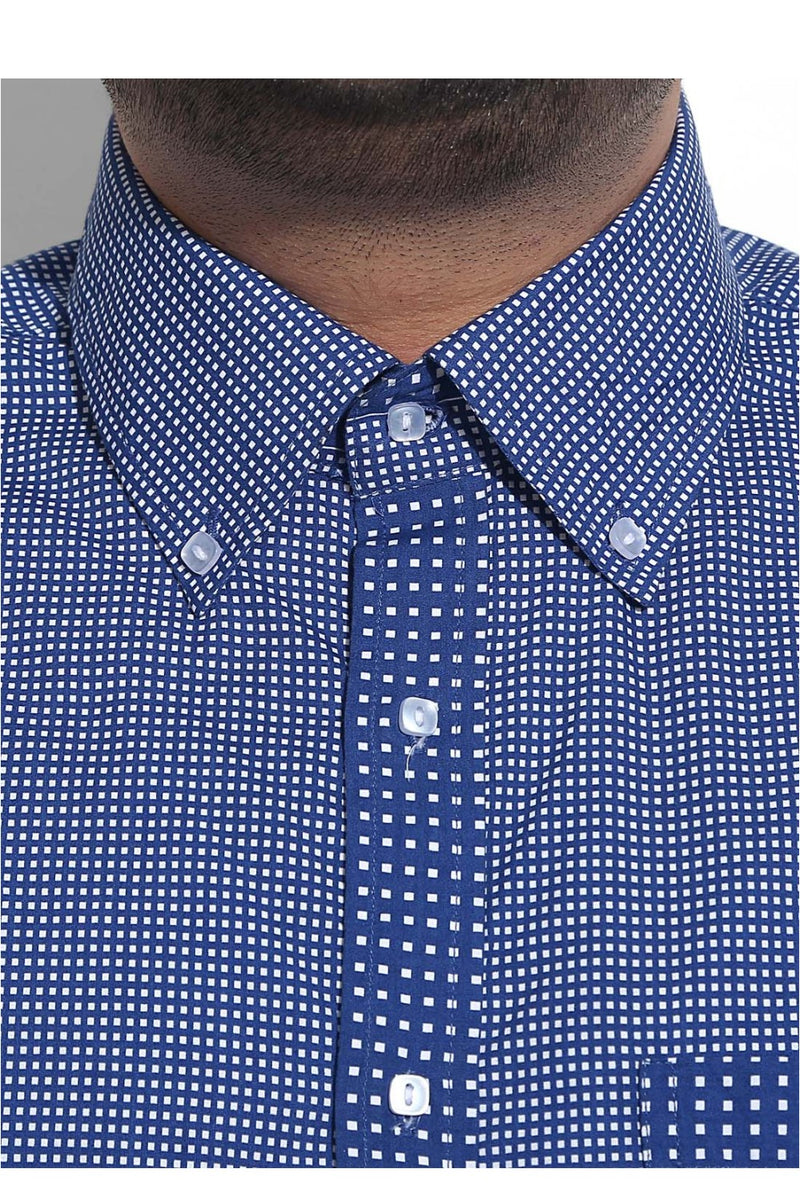Square Print Formal Shirt With Square Button Detailing