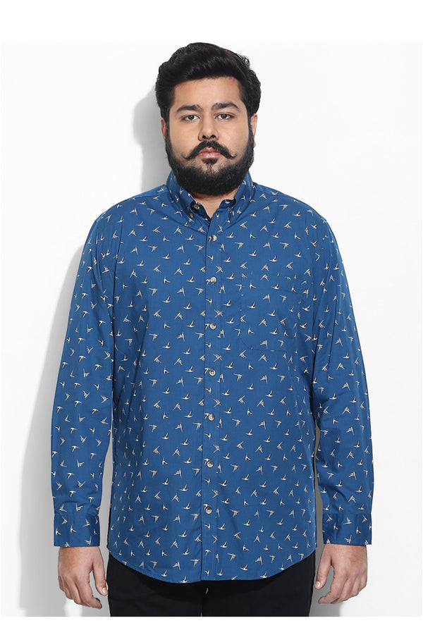 Bird Print Shirt in Cobalt Base