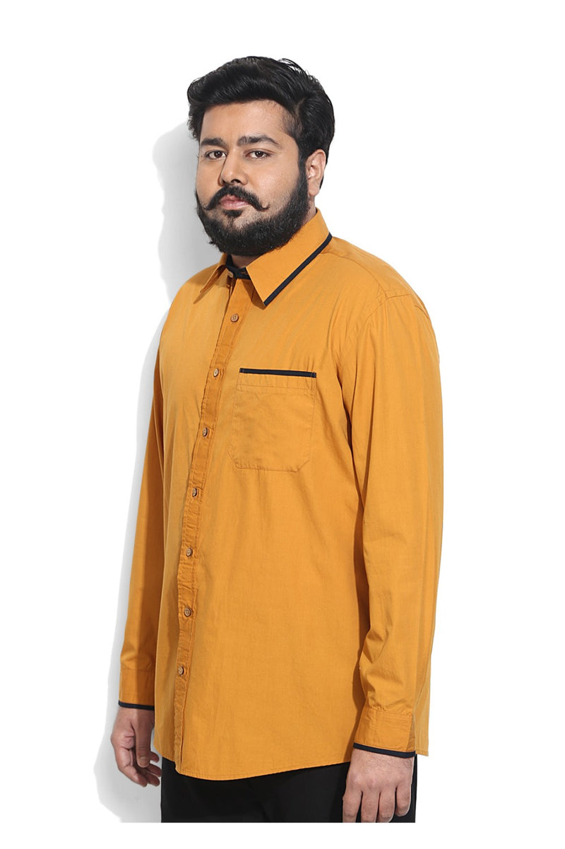 Dandy Mustard Shirt With Navy Cuff & Collar Detailing