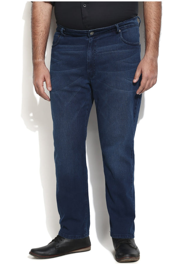 Navy Rubbed Stretchable Denim