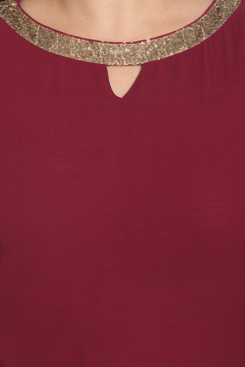 Maroon Sequin Detailing Full Length Dress