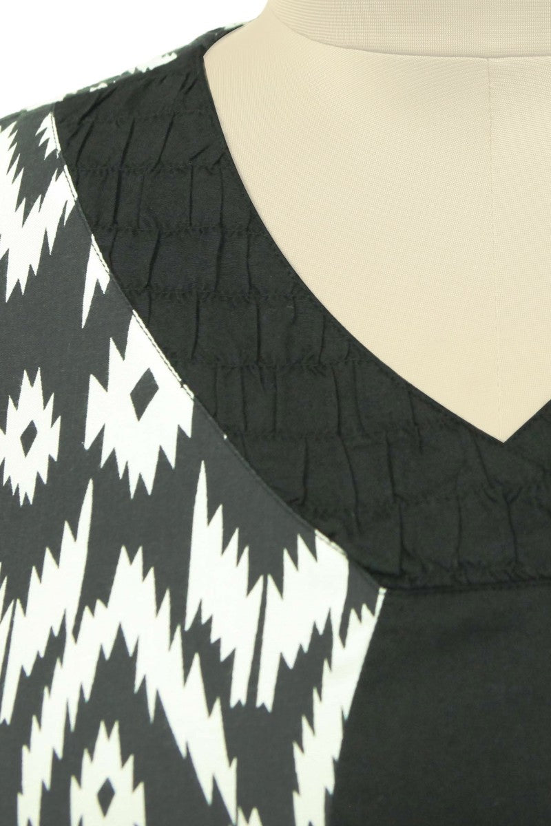 Rooshed Neck Monochrome Print Tunic
