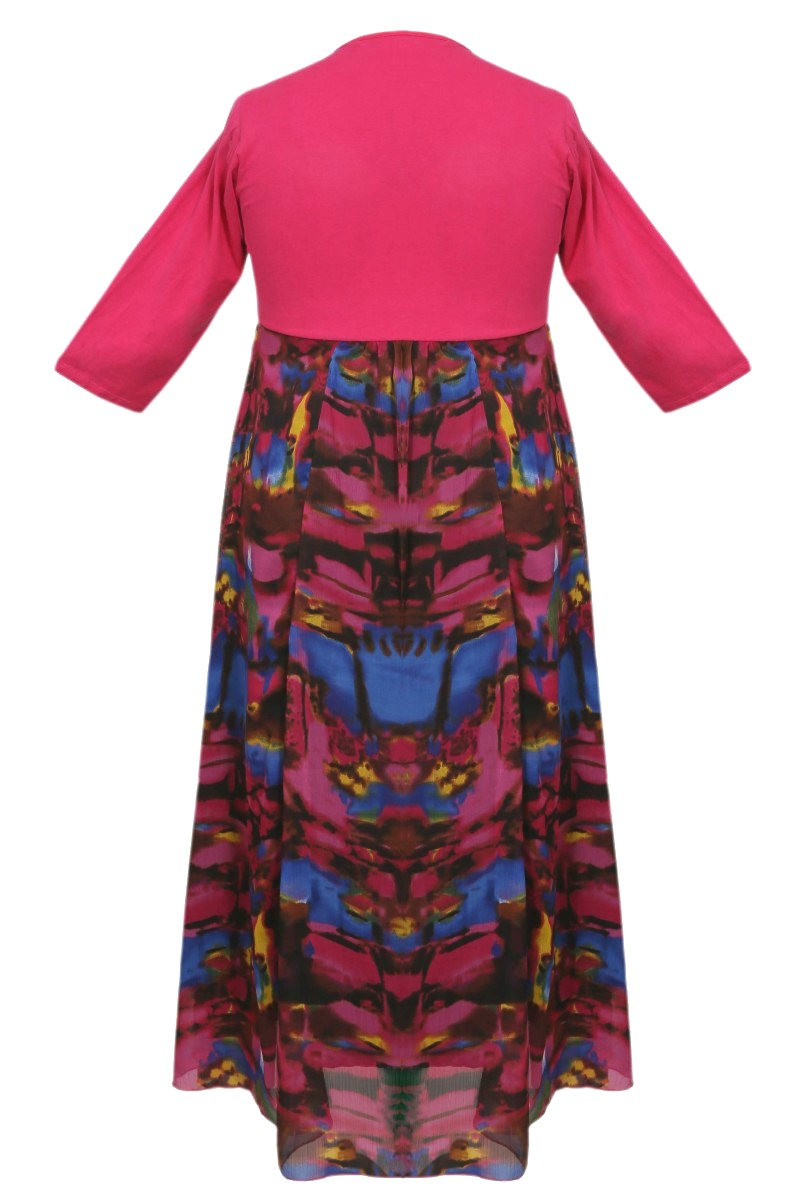 Multi-Color Maxi Dress with Pink Hosiery Top