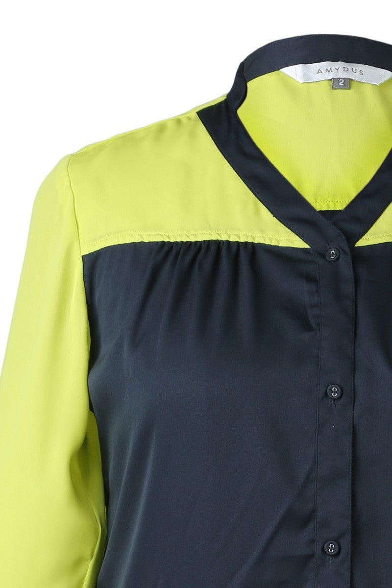 Shirt In Navy Blue & Lemon