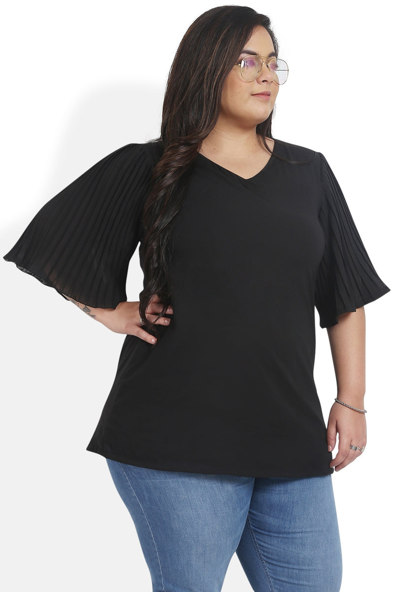 Black Pleated Bell Sleeves Top