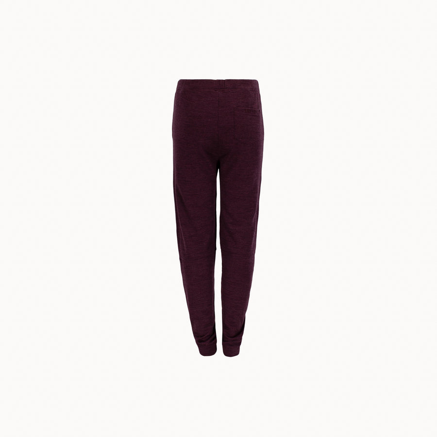 Back side of Tufte wool fleece pants for kids in burgundy