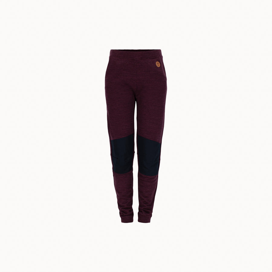 front of kids burgundy wool fleece pants by Tufte