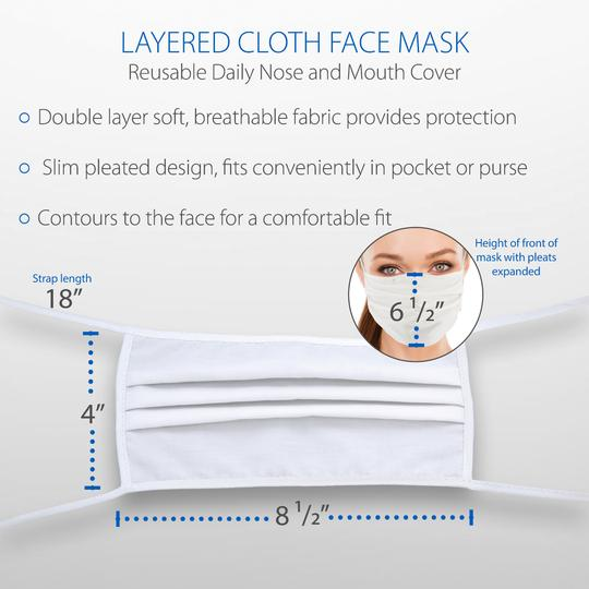 Layered Cloth Face Mask, White (Multi-Pack of 5)