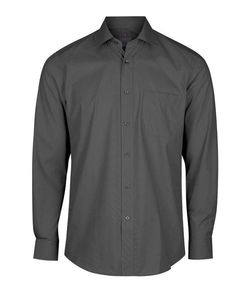 Gloweave Mens Premium Poplin Long Sleeve Shirt - Charcoal