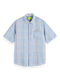 Scotch & Soda Mens Patterned Cotton-Linen Regular Fit Shirt