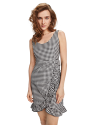 Scotch & Soda Checked Ruffled Dress