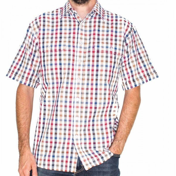 Bisley Mens Seersucker Multi-Colour Check Shirt