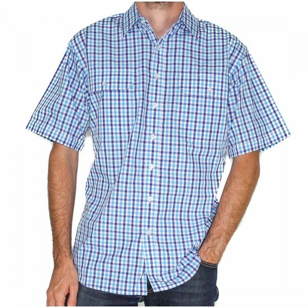 Bisley Mens Seersucker Blue Check Shirt