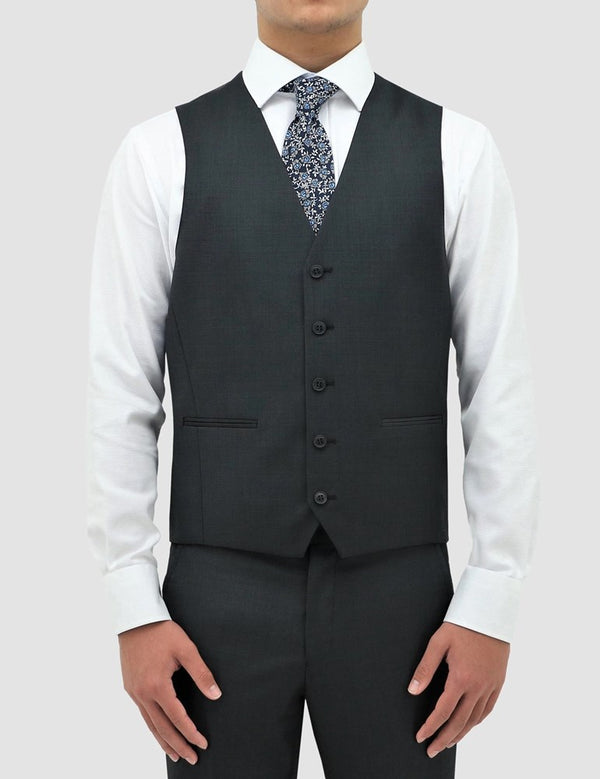 Boston Classic Fit Ryan Vest (Pin Dots, Charcoal)