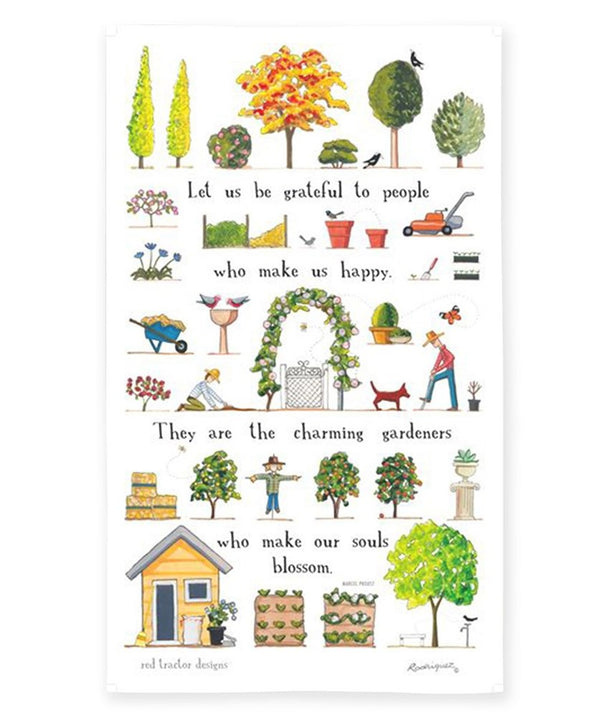 Red Tractor - A Day In The Garden - Tea Towel
