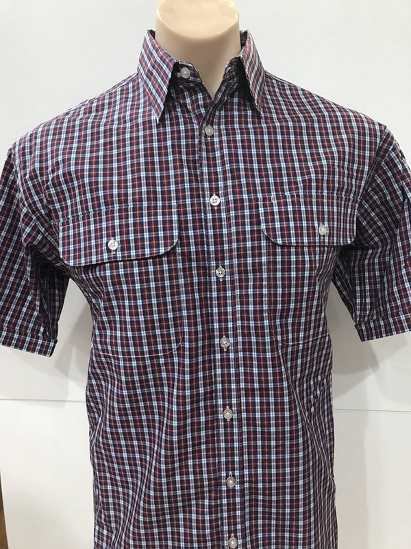 Bisley Mens Poly Cotton Red Check Shirt