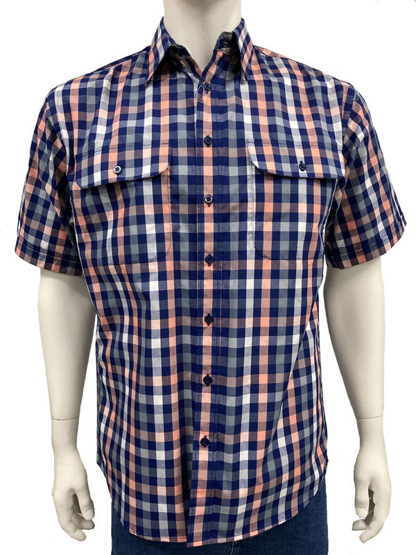 Bisley Mens Poly Cotton Orange Check Shirt