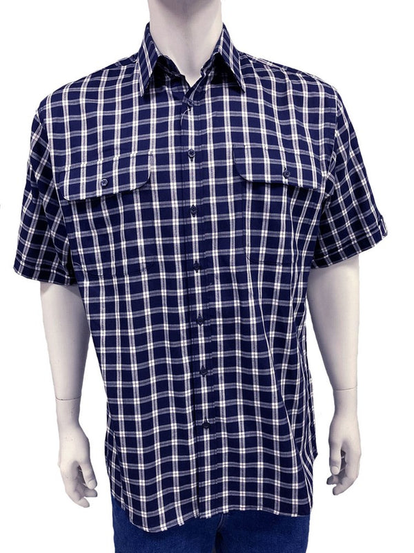 Bisley Mens Cotton Navy Check Shirt