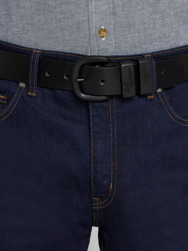 "RM Williams 1 1/2"" Drover Belt (Black & Chocolate)"