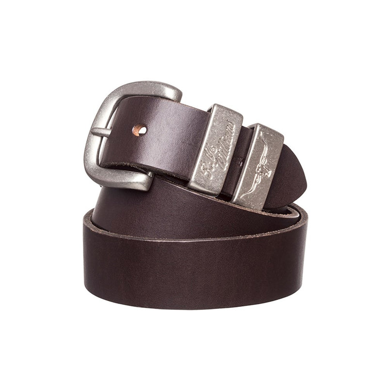 "RM Williams 1 1/2"" 3 Piece Solid Hide Belt (Silver)"