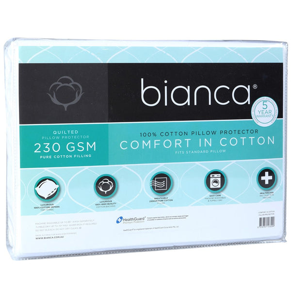 Bianca Comfort In Cotton Quilted Pillow Protector
