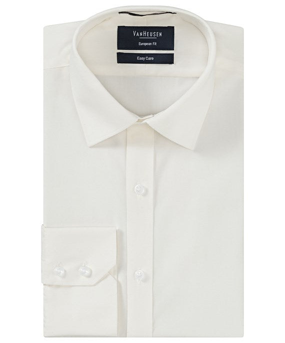 Van Heusen Mens European Tailored Fit, Solid White