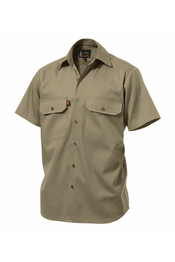 Short Sleeve Open Front Drill Shirt