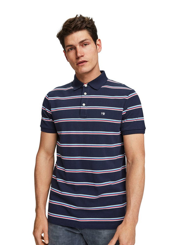 Scotch & Soda Colourful Striped Pique Polo