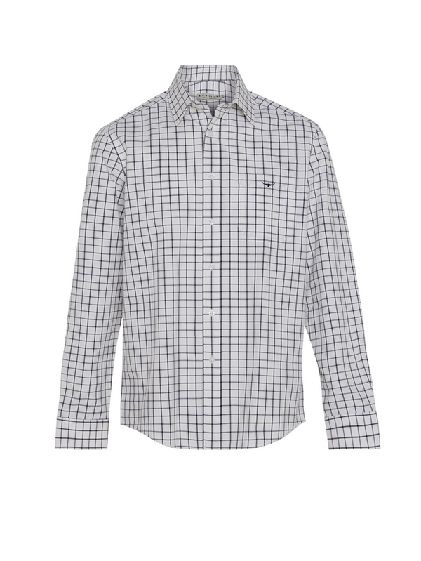 RM Williams Mens Collins Shirt (White Navy)