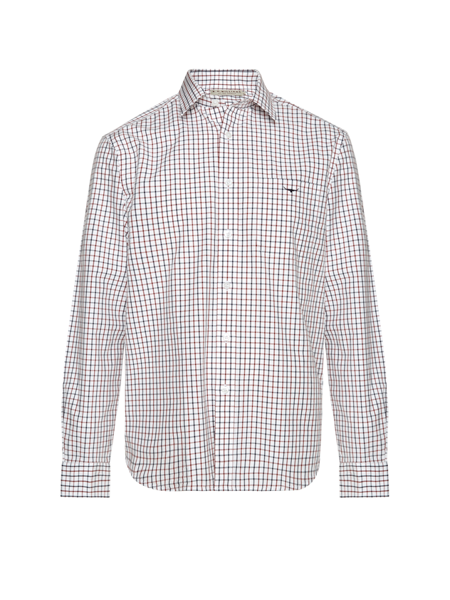 RM Williams Mens Collins Shirt (White/Blue/Rust)