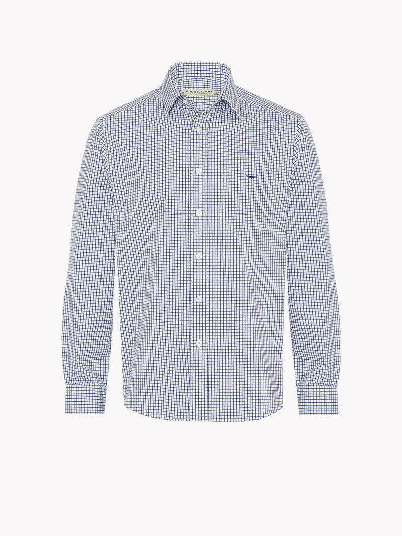 RM Williams Collins Shirt (Navy/White Check)