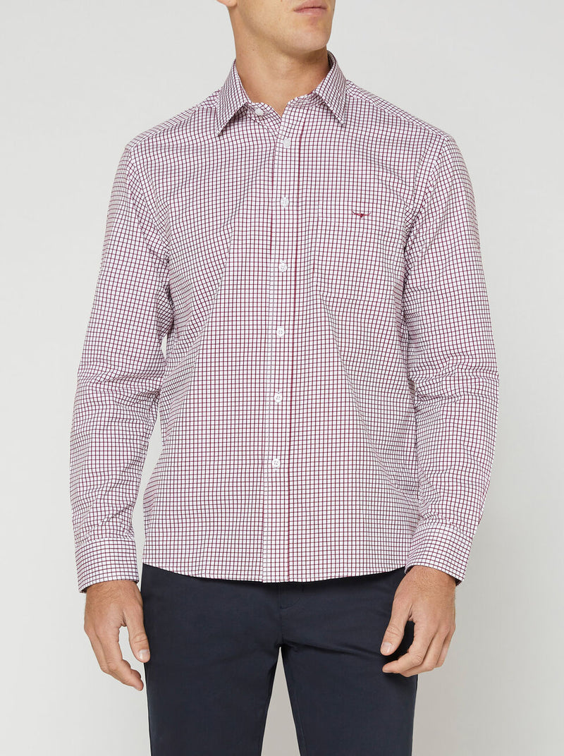 RM Williams Collins Shirt (Burgundy/White)