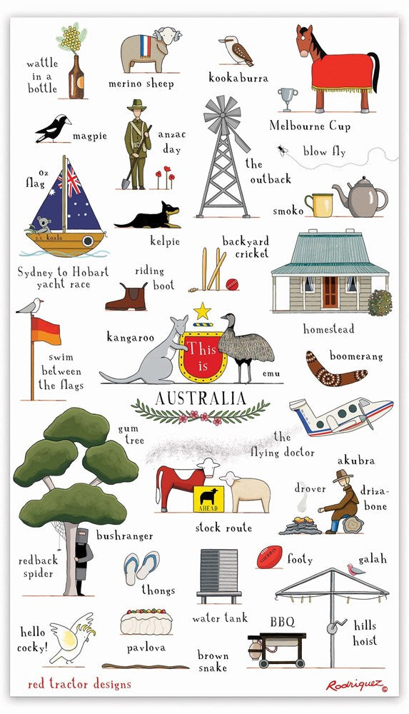 Red Tractor - This Is Australia - Tea Towel