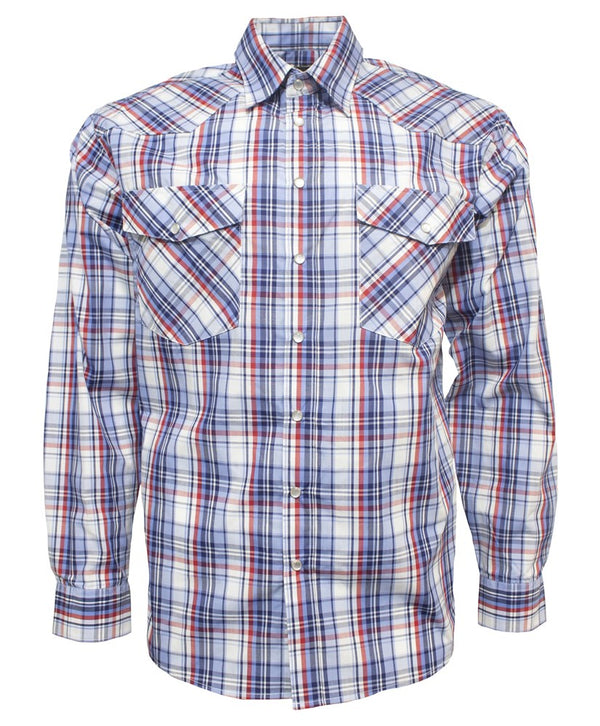 Bisley Mens Western Blue/Red Check  Shirt