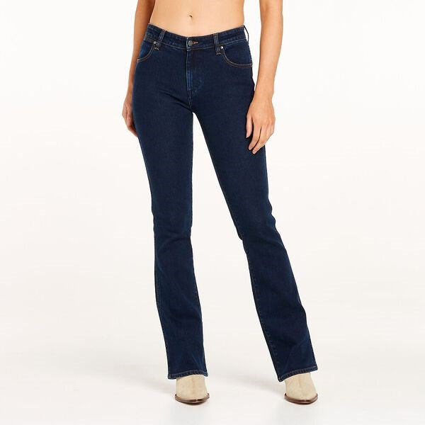 Wrangler Womens Classic Mid Waist Bootcut Jeans - Original Rinse