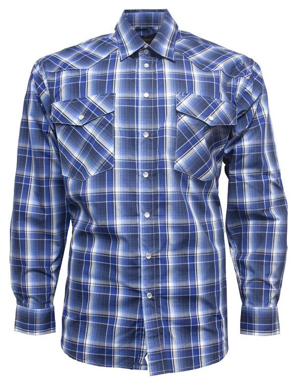 Bisley Mens Western Blue Check Shirt