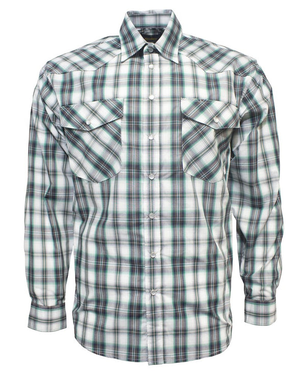 Bisley Mens Western Green/Grey Check Shirt