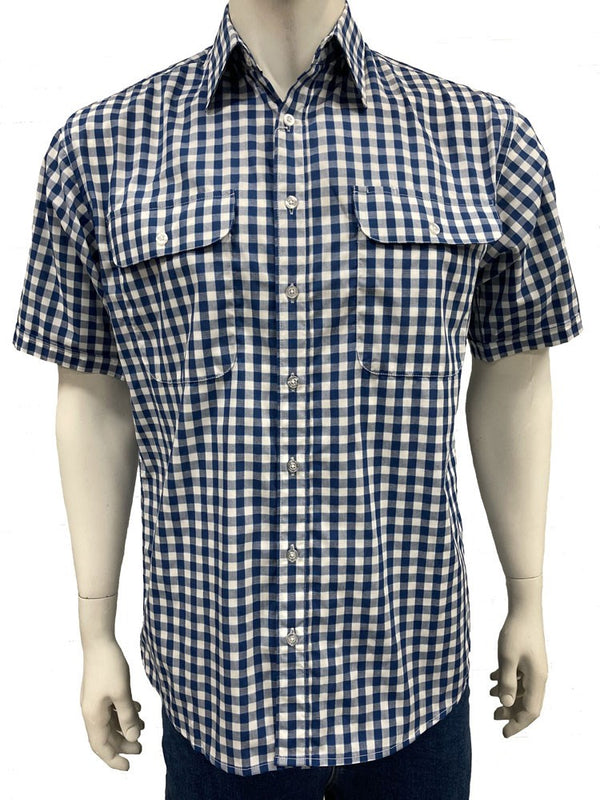 Bisley Mens Poly Cotton Navy Marl Check Shirt