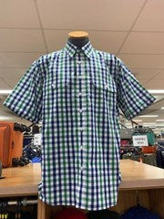 Bisley Mens Poly Cotton Green Check Shirt